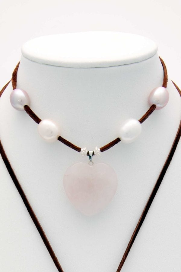 Rose Quartz Heart with 8 Rare Large White/Mauve/Peach Rice Pearls and Silver Beads Lariat