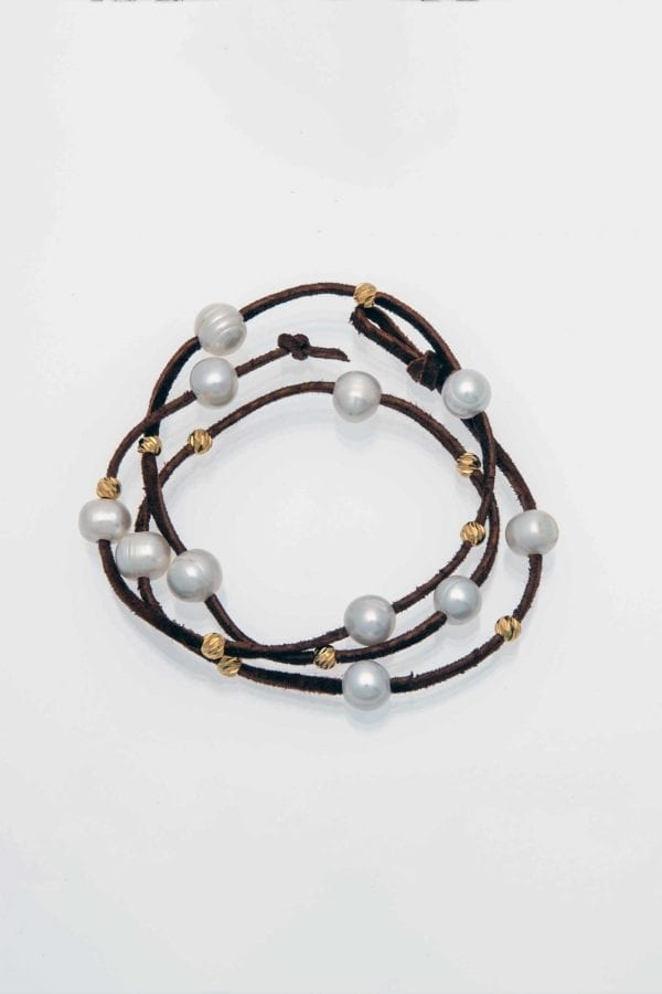 Bracelet / Necklace, White Freshwater Potato Pearls with Gold Beads on Brown Suede Leather, Wrap-Around Leather Pearl BOHO Bracelet